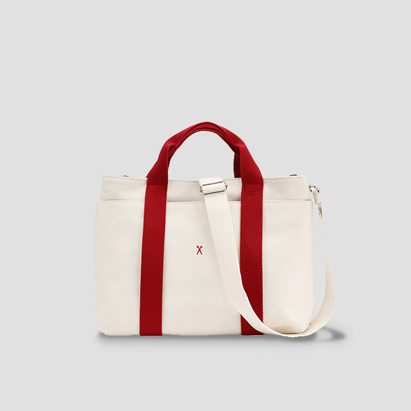 ※BESPOKE(자수)가능※Stacey Daytrip Tote Canvas M Ivory_Red