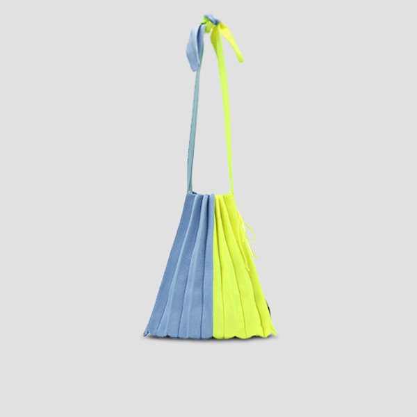 Lucky Pleats Knit M Half & Half Sky Blue/Neon Yellow