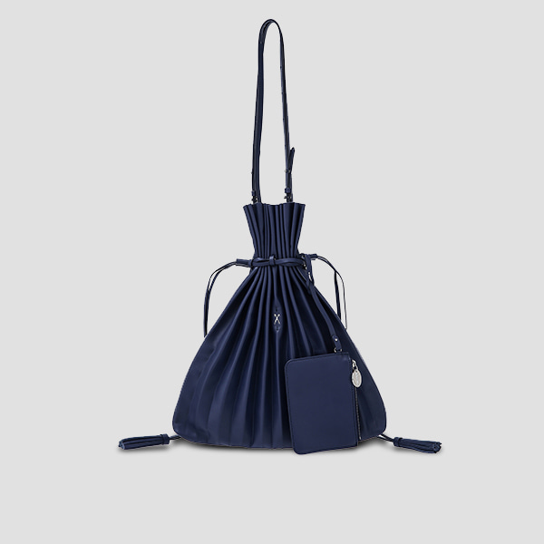 Lucky Pleats Shopper Posy Navy