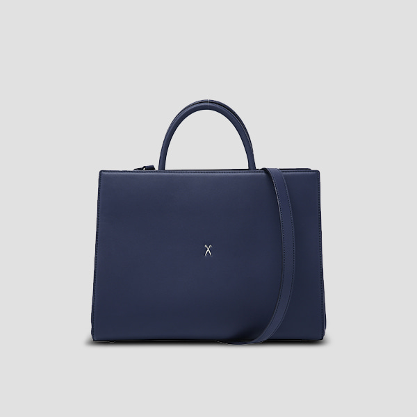 Lucky Pleats Tote L Posy Navy