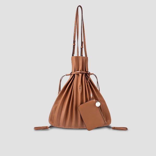 Lucky Pleats Shopper Pecan Brown