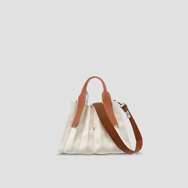 Lucky Pleats Canvas S Ivory_Pecan Brown(+Webbing Strap)