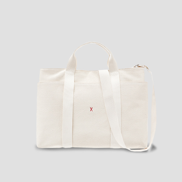※BESPOKE(자수)가능※Stacey Daytrip Tote Canvas L Ivory