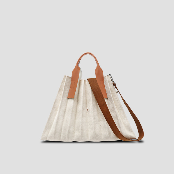 Lucky Pleats Canvas L Ivory_Pecan Brown(+Webbing Strap)