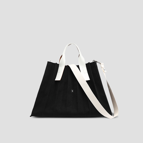 Lucky Pleats Canvas L Black_Ivory(+Webbing Strap)