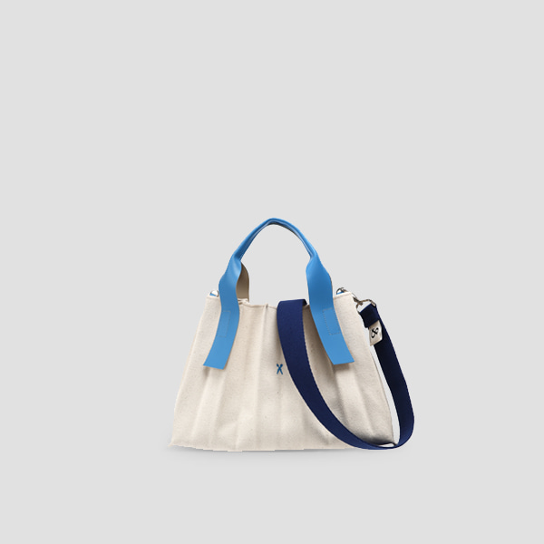 Lucky Pleats Canvas S Ivory_Hockney Blue