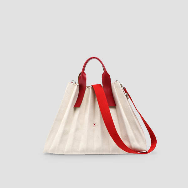 Lucky Pleats Canvas L Ivory_Lucky Red