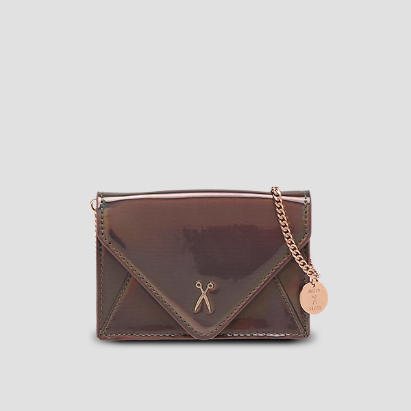 Easypass Amante Card Wallet with Chain Mirror Brown