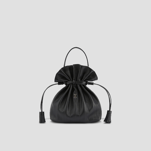 [스타 인스타그램 착용]Lucky Pleats Crossbag Rich Black