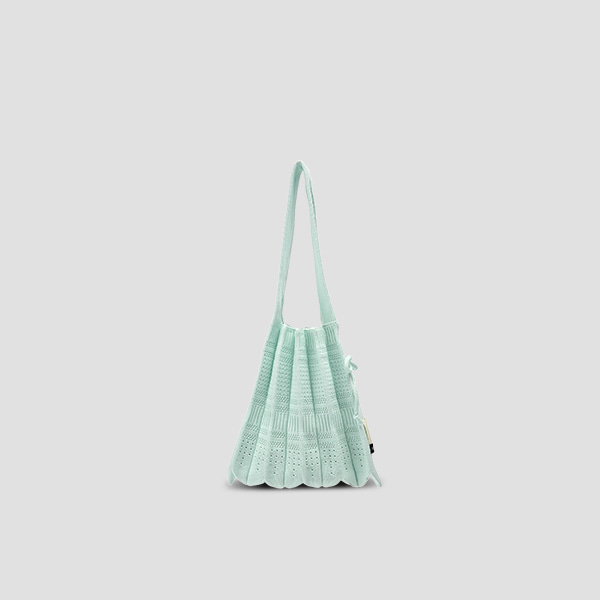 Lucky Pleats Knit S Crochet Cream Mint