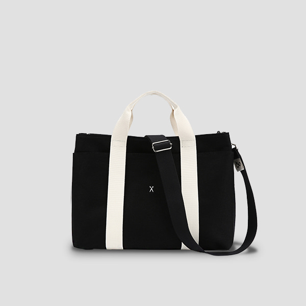 ※BESPOKE(자수)가능※Stacey Daytrip Tote Canvas M Black(Ivory)